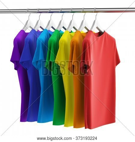 Row of many colorful rainbow new fabric cotton t-shirts on hangers isolated on white background. 3d rendering