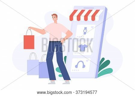 Online Shopping Concept, Happy Customer With Shopping Bags, Delivered Orders, Smartphone Screen With