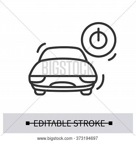 Car Start Icon. Electric Vehicle With Power Ignition Linear Pictogram. Concept Of Modern Driving Int