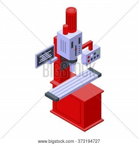 Beam Milling Machine Icon. Isometric Of Beam Milling Machine Vector Icon For Web Design Isolated On