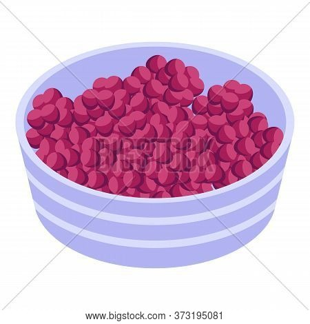 Red Grapes Basin Icon. Isometric Of Red Grapes Basin Vector Icon For Web Design Isolated On White Ba