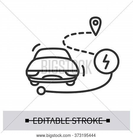 Electric Car Range Icon. Personal Vehicle With Location And Power Linear Pictogram. Concept Of Range