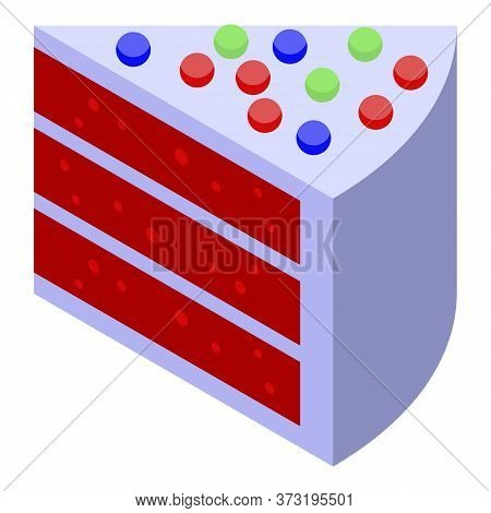 Jelly Piece Cake Icon. Isometric Of Jelly Piece Cake Vector Icon For Web Design Isolated On White Ba