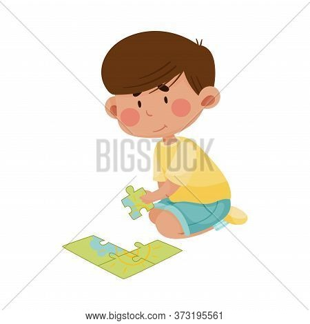 Little Boy Sitting And Putting Together Jigsaw Puzzle Vector Illustration