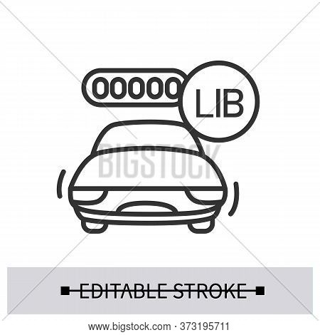 Electric Car Icon. Alternative Energy Vehicle With Charged Lithium Ion Battery Linear Pictogram. Con