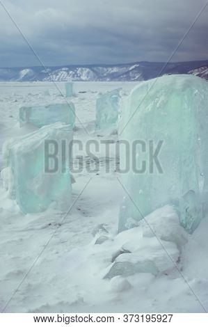 Blocks Of Ice On Lake Baikal Siberia Russia