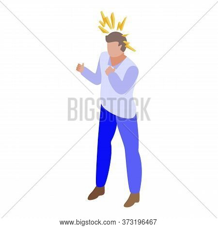 Rage Boy Icon. Isometric Of Rage Boy Vector Icon For Web Design Isolated On White Background