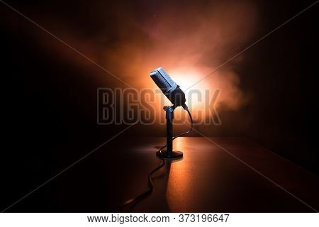 Microphone For Sound, Music, Karaoke In Audio Studio Or Stage. Mic Technology. Voice, Concert Entert