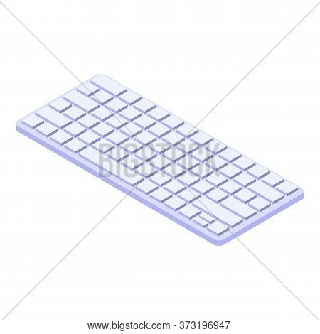 White Keyboard Icon. Isometric Of White Keyboard Vector Icon For Web Design Isolated On White Backgr