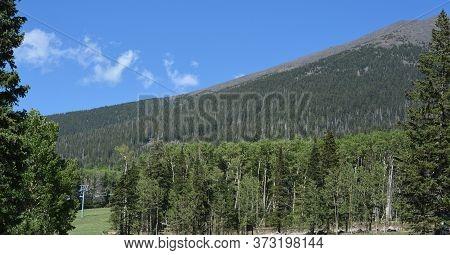 Ski Lifts On The Ski Slopes Of Arizona Snowbowl On Mount Humphreys Near Flagstaff, Arizona Usa