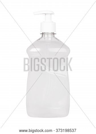 Antiseptic In A Transparent Plastic Simple Blank Bottle Without A Label Isolated On A White Backgrou
