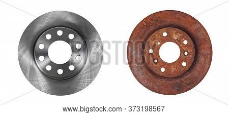 Two Brake Discs New And Old Rusty In One Photo Isolated On White Background