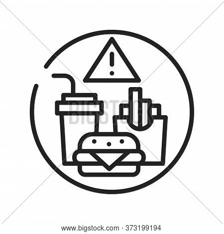 Caution Junk Food Black Line Icon. Cause Diseases Gastric Tract. Sign For Web Page, Mobile App, Butt