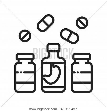 Pharmaceutical Product Black Line Icon. Digestive Tract Diseases. Sign For Web Page, Mobile App, But