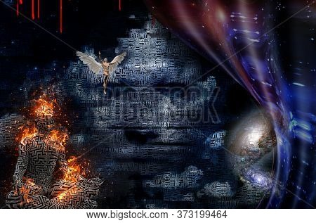 Abstract clouds. Words. Burning man in lotus pose. Pattern of maze on his skin. Face  in the sky. Man with wings represents angel. Warped space. 3D rendering