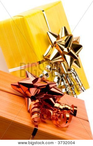 beautiful colorful present boxes with ribbons and nice decoration poster