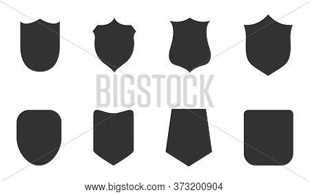 Police Badge Shape. Icons Vector Military Shield Silhouettes. Security Patches Isolated On White Bac