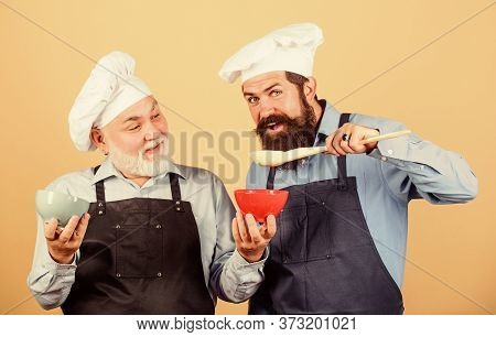 This Should Be Fine. Chef Men Cooking. Cheerful Men Prepare Food. Professional Restaurant Cook. New