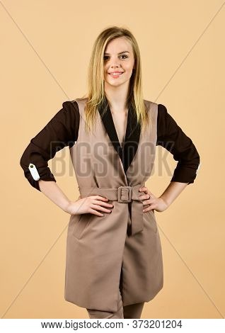 Style For Real Woman. Wear Trendy Color Only. Woman In Classy Elegant Jacket. Businesswoman Wear For