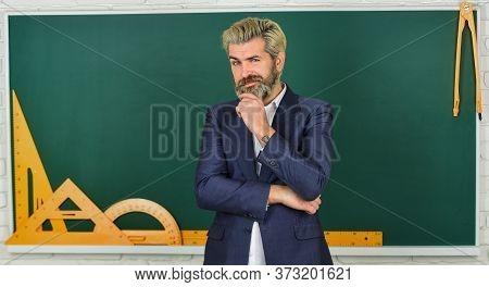 Teachers Enlighten Path Of Success. Man Teacher In Front Of Chalkboard. Important Information To Rem