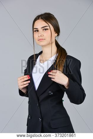 Stylish Fashion Model. Woman In Salon. Female With Classy Look. Perfect Wardrobe. Fashion And Beauty