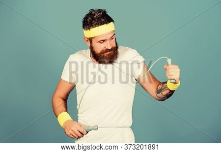 Man Bearded Athlete Hold Jumping Rope. Motivation Concept. Mature Sportsman. Fitness Instructor Do E