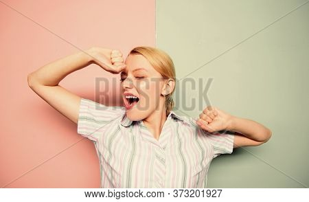 Energy Charge. Woman Yawning Face. Girl Stretching Hands While Yawning. Slept Well. Yawning Woman. G