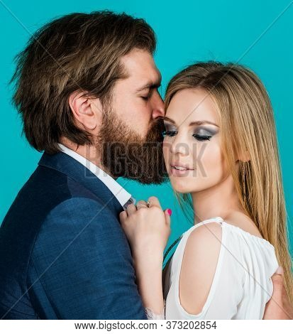 Cheerful Couple. Man Kiss Woman Dating. Spending Time Together. Romantic Relations And Family Bondin