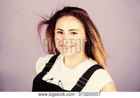 Popular Look. Trendy Crimped Hairstyles. Woman Smiling Face Posing With Stylish Hairstyle On Violet