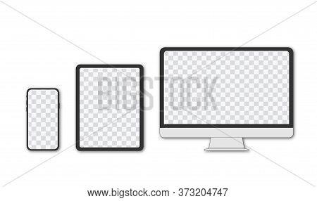 Monitor, Tablet, Smartphone, Realistic Vector Set On A Transparent Background And Transparent Displa