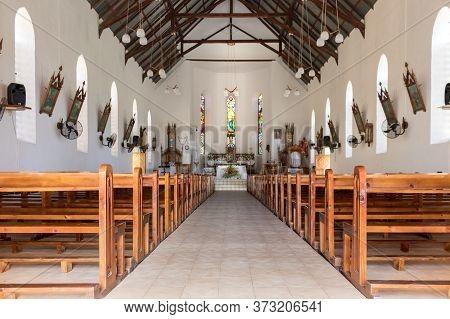 La Dique, Seychelles - February 4th, 2019: Interior Of The Notre Dame De Lassomption Church In La Di