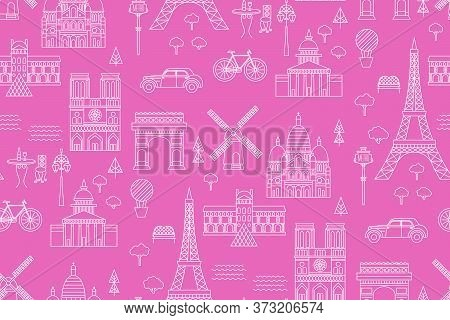 Paris Pattern Seamless Geometric Design . Travel Tourism Decoration Series.