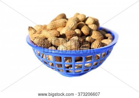 Peanuts. Salted whole in shell roasted Peanuts. Isolated on white. Peanuts ready for eating.