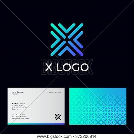X Letter. X Monogram Consist Of Some Blue Linear Elements On A Dark Background. Identity. Business C