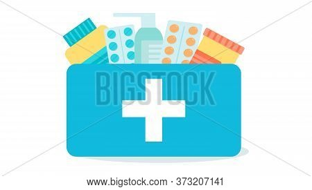First Aid Kit With Medicines Inside. Pharmacy And Medical Concept. Emergency Medical Case With Cross