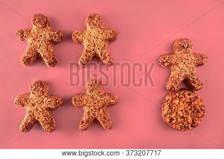 Cookie Figures Of Men On Pink Background. Flat Lay Shot Of Freshly Bakery Gingerbread Cookies Man. S