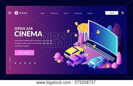 Open-air Car Cinema Entertainment Concept. Vector 3d Isometric Illustration. Automobiles Parked In F