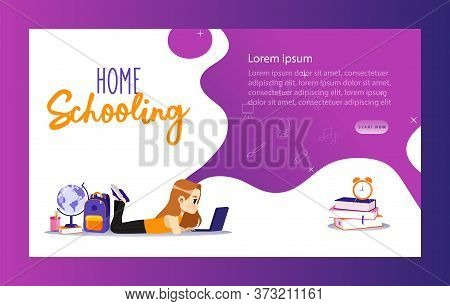 Concept Of Back To School. Website Landing Page. Schoolgirl Has Remote Lesson On Laptop. Remote Trai