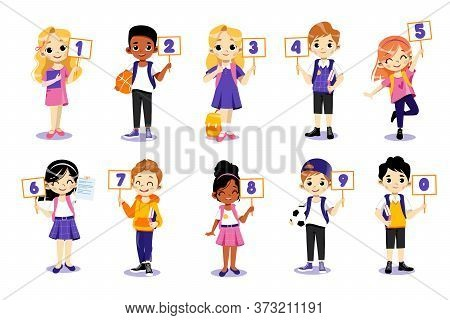 Concept Of Back To School. Kids Ready To Study In New Academic Year. Classmates Boys And Girls Stand
