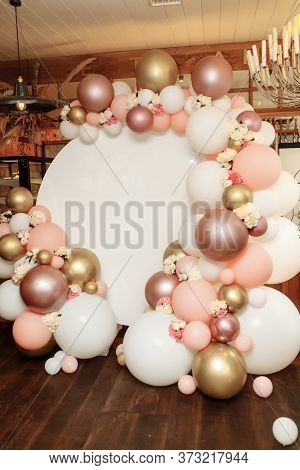 Childrens Photo Zone With A Lot Of Balloons. Decorations For A One Year Old Girls Birthday Party. Co