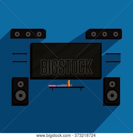 Home Theater System. Home Entertainment - Vector Illustration