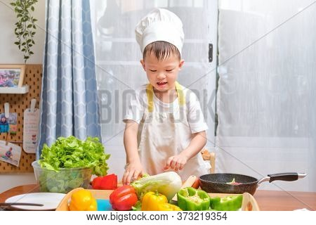 Cute Happy Smiling Asian Little Boy Child Wearing Chef Hat And Apron Having Fun Preparing, Cooking H