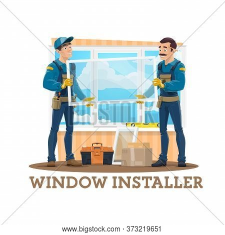 Window Installation Vector Design Of Construction Workers, Carpenters Or Window Installers With Glas