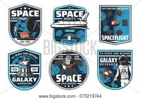 Space Exploration Isolated Icons With Spaceship And Astronaut. Vector Rocket, Galaxy Planet, Satelli