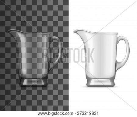 Glass Jug Vector Mockup Of Realistic Empty Pitcher With Handle And Pouring Spout. 3d Transparent Dri