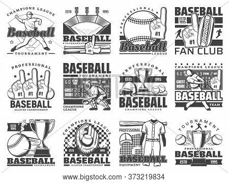 Baseball Sport Vector Icons With Balls, Bats, Stadium And Players. Isolated Baseball Game Tournament