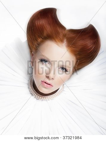 Red Haired Freckled Actress In White Pearly Collar And Jabot