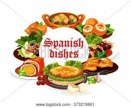 Spanish Cuisine Dishes, Vector Meat, Fish And Vegetable Food. Tuna Salad San Isidro With Olives, Bee