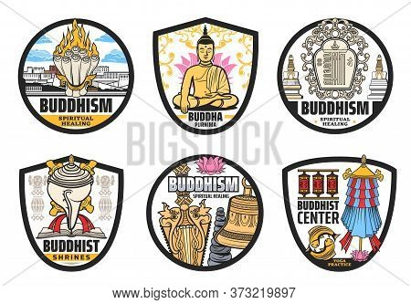 Buddhism Religion, Tibet And Buddhist Vector Symbols. Isolated Vector Icons Of Buddha, Lotus, Prayer