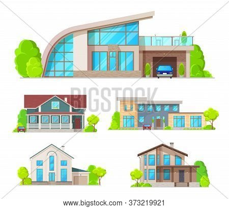 Real Estate Building Icons Of Vector Cottage Houses, Villas, Bungalows, Townhouses Or Mansions. Fron